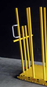 forklift post brackets standing on dolly 500 164x300 - yel-Low Safety Dolly