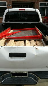 truck full of shelving wood