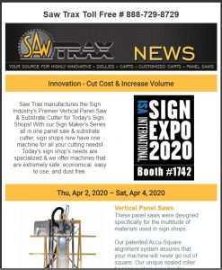 Saw Trax March 2020 Newsletter