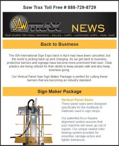 Saw Trax May 2020 Newsletter